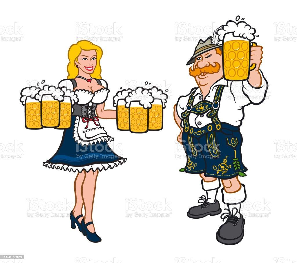 cf936f605 Lindo hombre y mujer en trajes típicos alemanes. Ilustración de vector de  estilo plano.