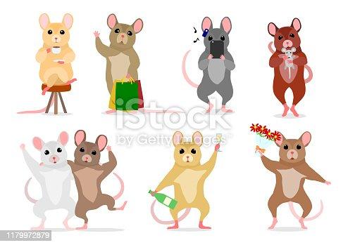 cute man like mice various posing set