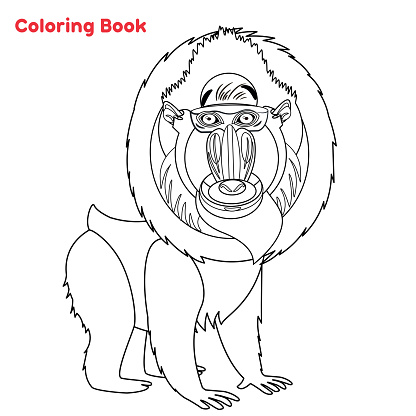 Cute Mandrill coloring book page