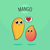 Cute Mango Fruit Character. Cartoon vintage vector illustration. Raw vegan concept