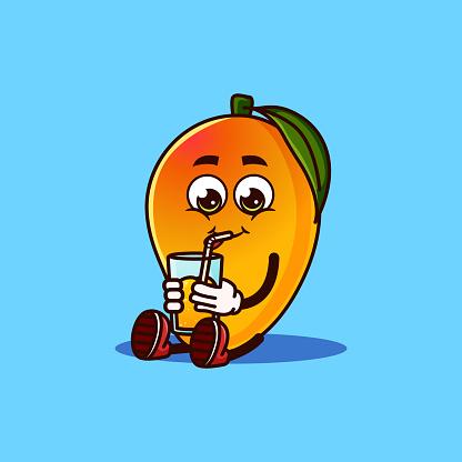 Cute Mango fruit character sitting with Mango juice