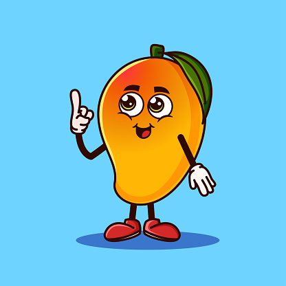 Cute Mango fruit character with happy face and Gesture pointing up
