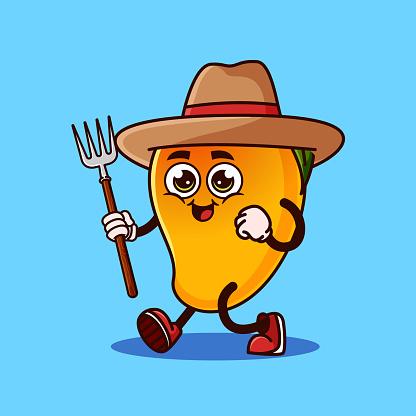 Cute Mango fruit Farmer character with pitchfork
