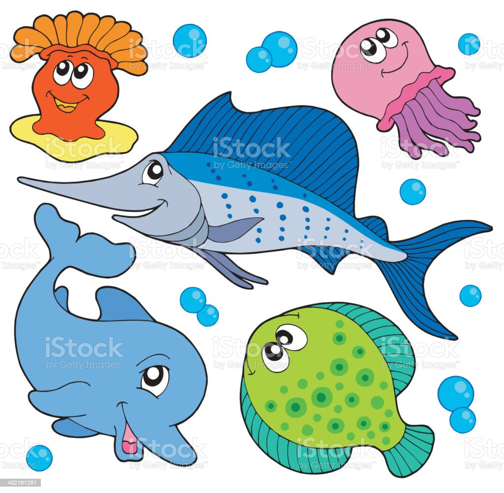 Cute marine animals collection 2 royalty-free stock vector art