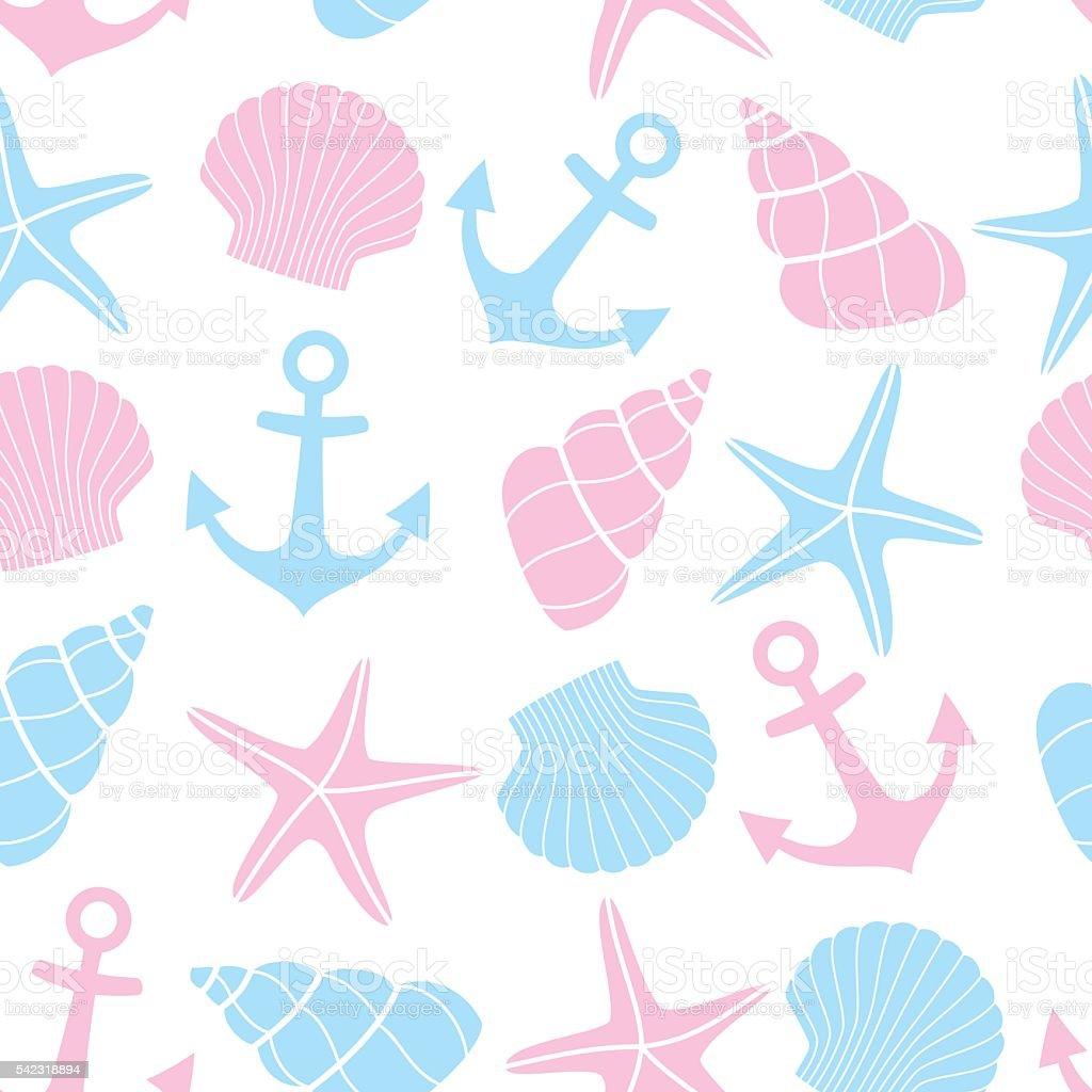 かわいい海洋生物の背景マリン継ぎ目のないパターンます のイラスト