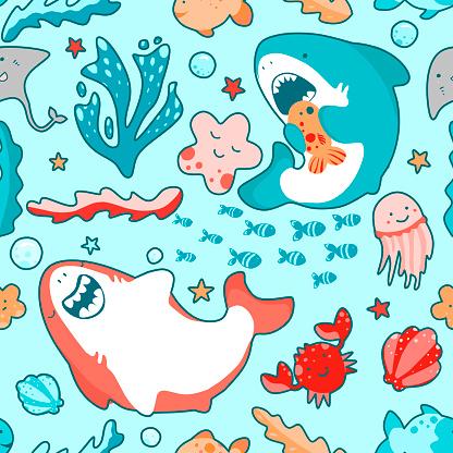 Cute marine seamless pattern with kawaii sharks, animals and algae, underwater world