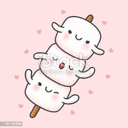 Cute marshmallow in stick hand drawn cartoon character. Hand drawing vector. Cartoon character design.