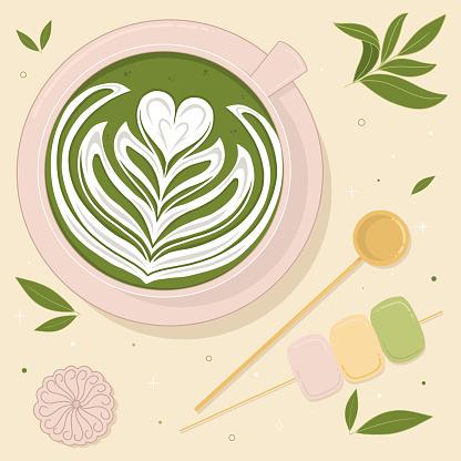 Cute Matcha latte art Vector Illustration
