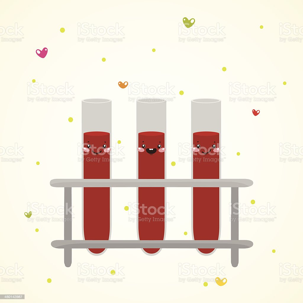 Cute medical test tube with blood vector art illustration