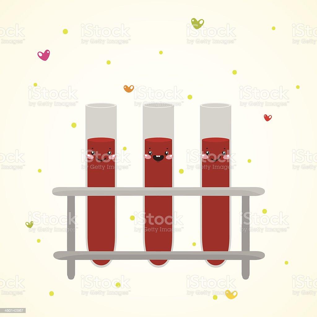Linda medical tubo de ensayo con la de la sangre - ilustración de arte vectorial