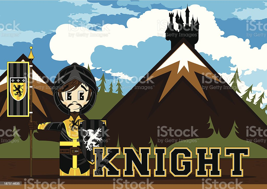 Cute Medieval Knight Learning Illustration royalty-free cute medieval knight learning illustration stock vector art & more images of adult