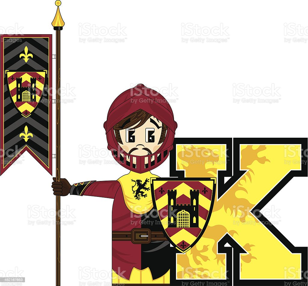 Cute Medieval Knight Learning Letter K royalty-free cute medieval knight learning letter k stock vector art & more images of adult