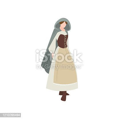 istock Cute medieval sexy woman in long dress with leather corset 1210265494