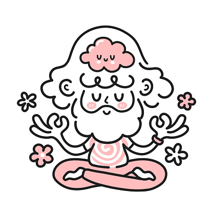 Cute meditating hippie man with happy brain inside. Vector cartoon character illustration icon. Isolated on white backgound. Man, guy in mental harmony, meditation, mindfulness concept