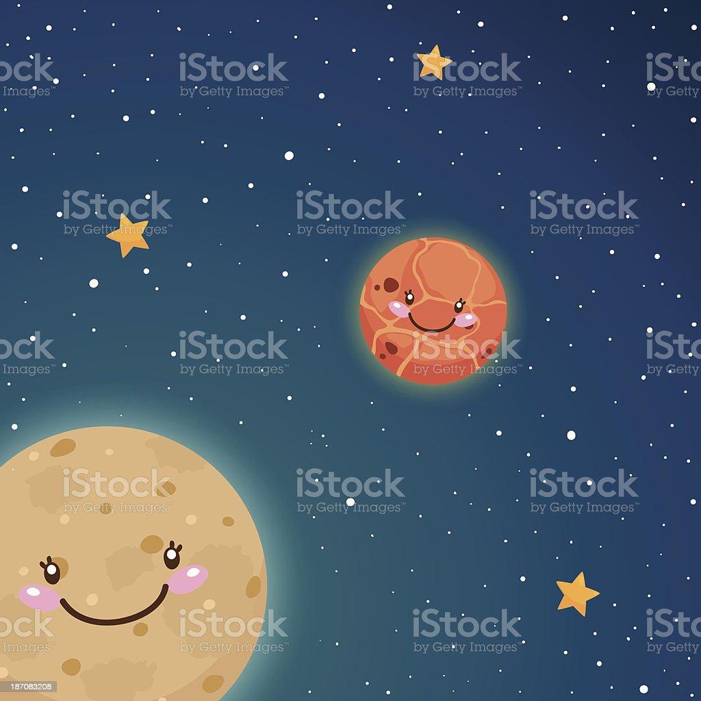 Cute Mercury and Venus in space royalty-free stock vector art