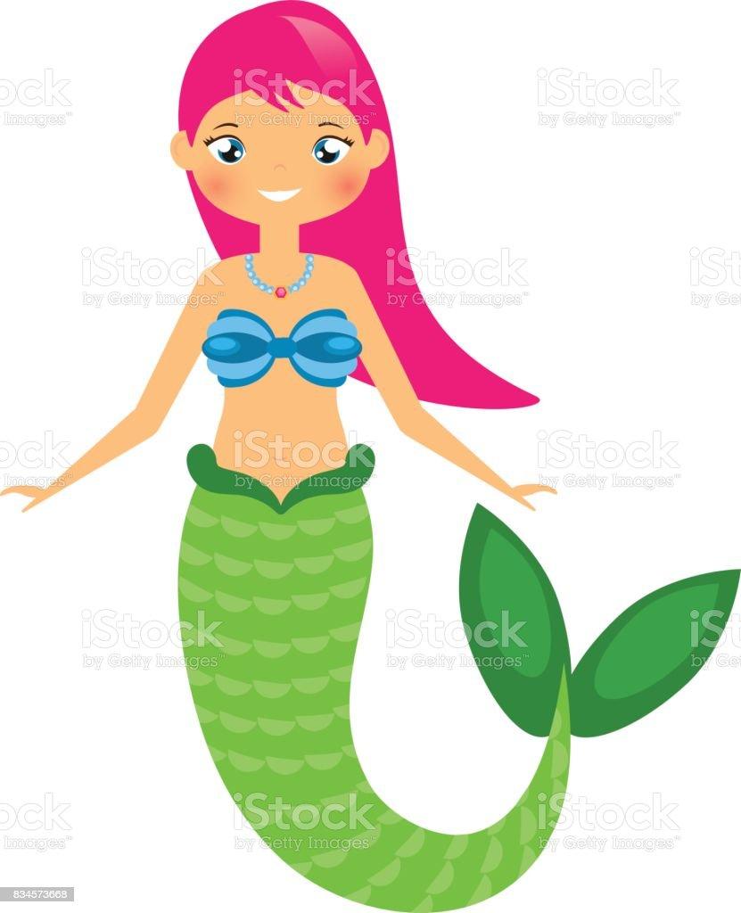 Sevimli Deniz Kızı Karakter Karikatür Tarzı Vektör çizim Stok Vektör