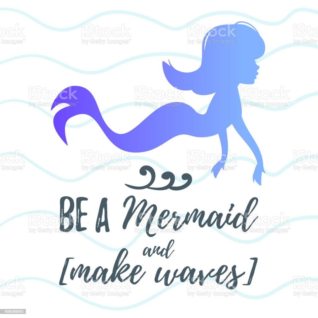 Cute Mermaid Character Silhouette Stock Vector Art More Images Of