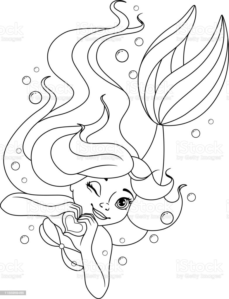 Sevimli Mermaid Boyama Sayfasi Kalp Seklinde Eller Stok Vektor