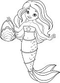 Cute Mermaid Coloring Page