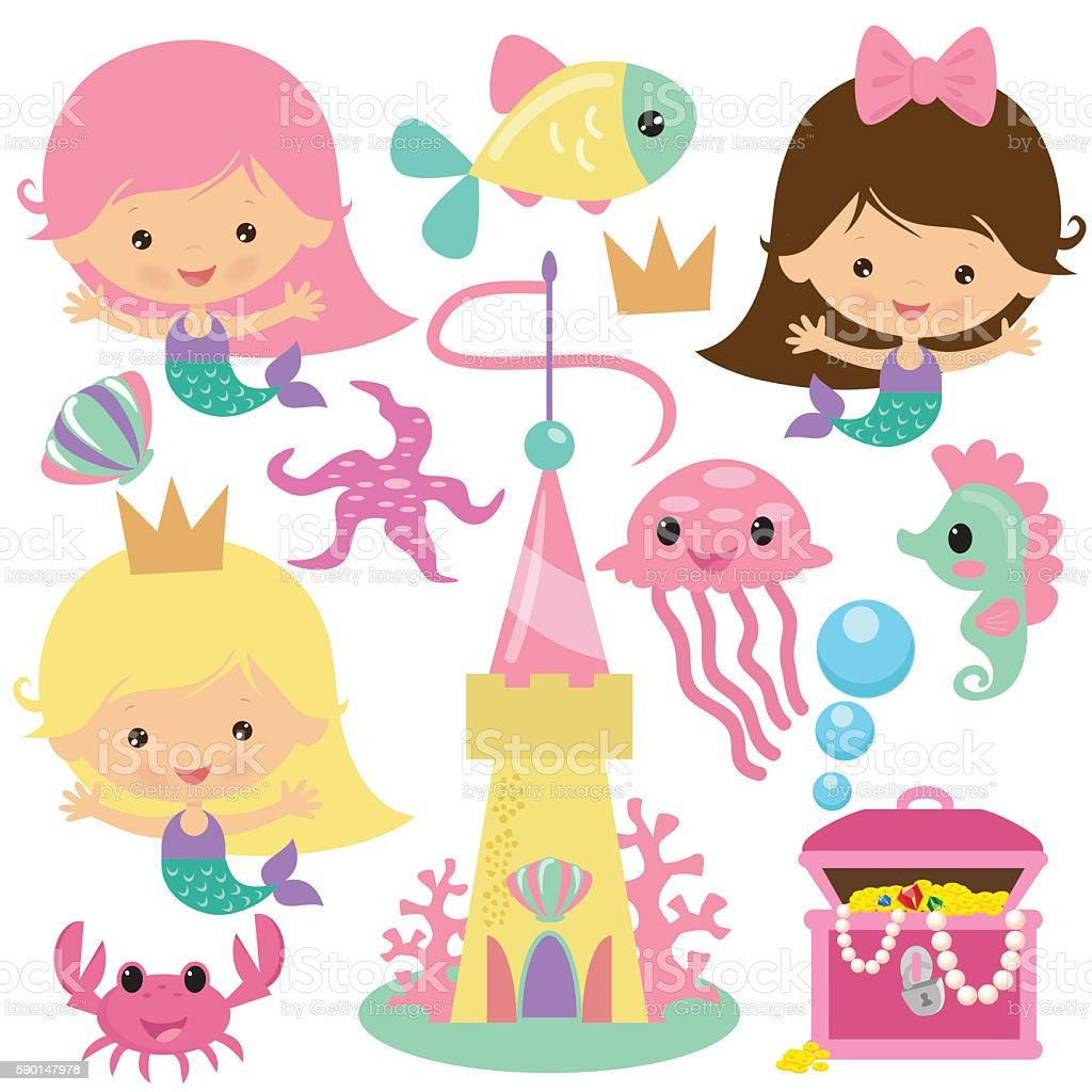 cute mermaid princess vector illustration stock vector art