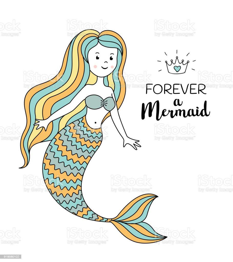 Sevimli Deniz Kızı Deniz Vektör çizim Altında Sonsuza Dek Bir