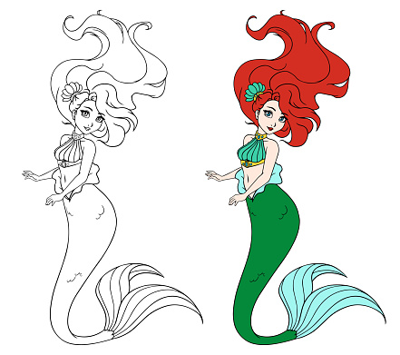 Cute mermaid with long hair. hand drawn vector illustration on a white background for coloring book, tattoo, card, t-shirt template etc.