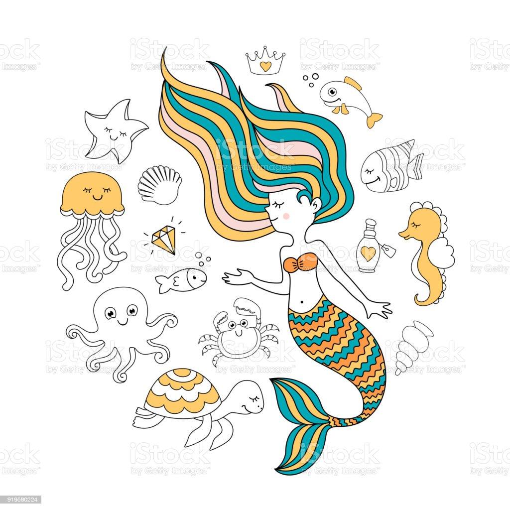 Sevimli Deniz Kızı Deniz Hayvanları Ile Deniz Vektör çizim Altında