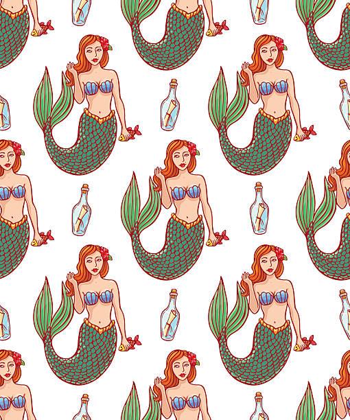 illustrations, cliparts, dessins animés et icônes de les sirènes et le joli bouteilles - tatouages de sirène