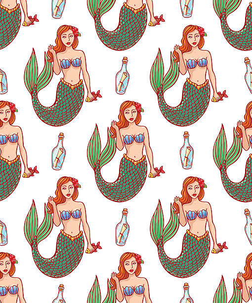 cute mermaids and bottles - mermaid tattoos stock illustrations, clip art, cartoons, & icons