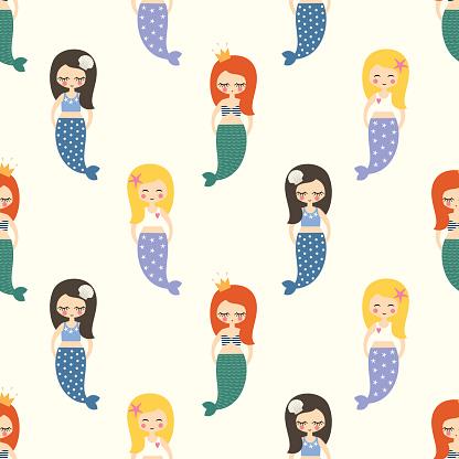 Cute mermaids girls seamless pattern on white background.