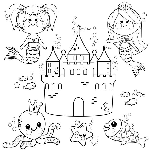 Underwater Castle Illustrations, Royalty-Free Vector