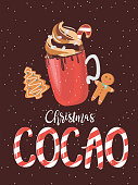 Cute Merry Christmas card with gingerbread, candy, red mug with sweet drink. Editable Vector Illustration.