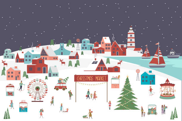 Cute Merry Christmas greeting card with winter landscape, Christmas market and active people Cute Merry Christmas greeting card with winter landscape, Christmas market and active people. Editable vector illustration village stock illustrations