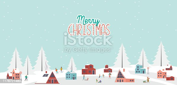 Cute Merry Christmas greeting card with winter landscape, Scandinavian houses and active people. Editable vector illustration
