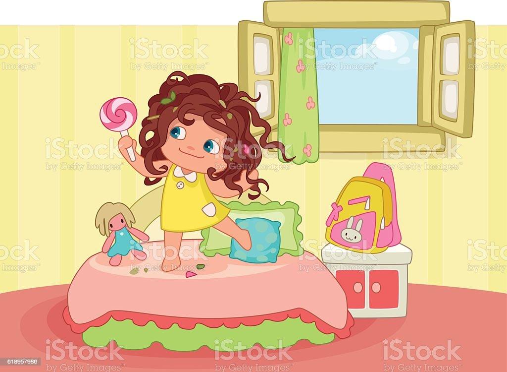 Cute messy hair girl vector art illustration