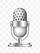 Cute Microphone Icon on Transparent Background
