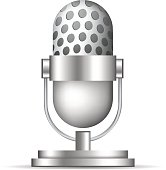 Cute Microphone Icon on White Background
