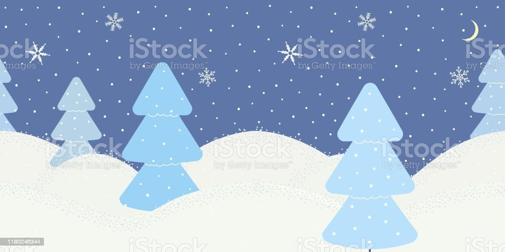 cute minimalist winter border on blue background with snowflakes and christmas trees or spruces texture for decoration greeting cards for christmas or new year websitesshowcases vector stock illustration download image now https www istockphoto com vector cute minimalist winter border on blue background with snowflakes and christmas gm1180246344 330576107