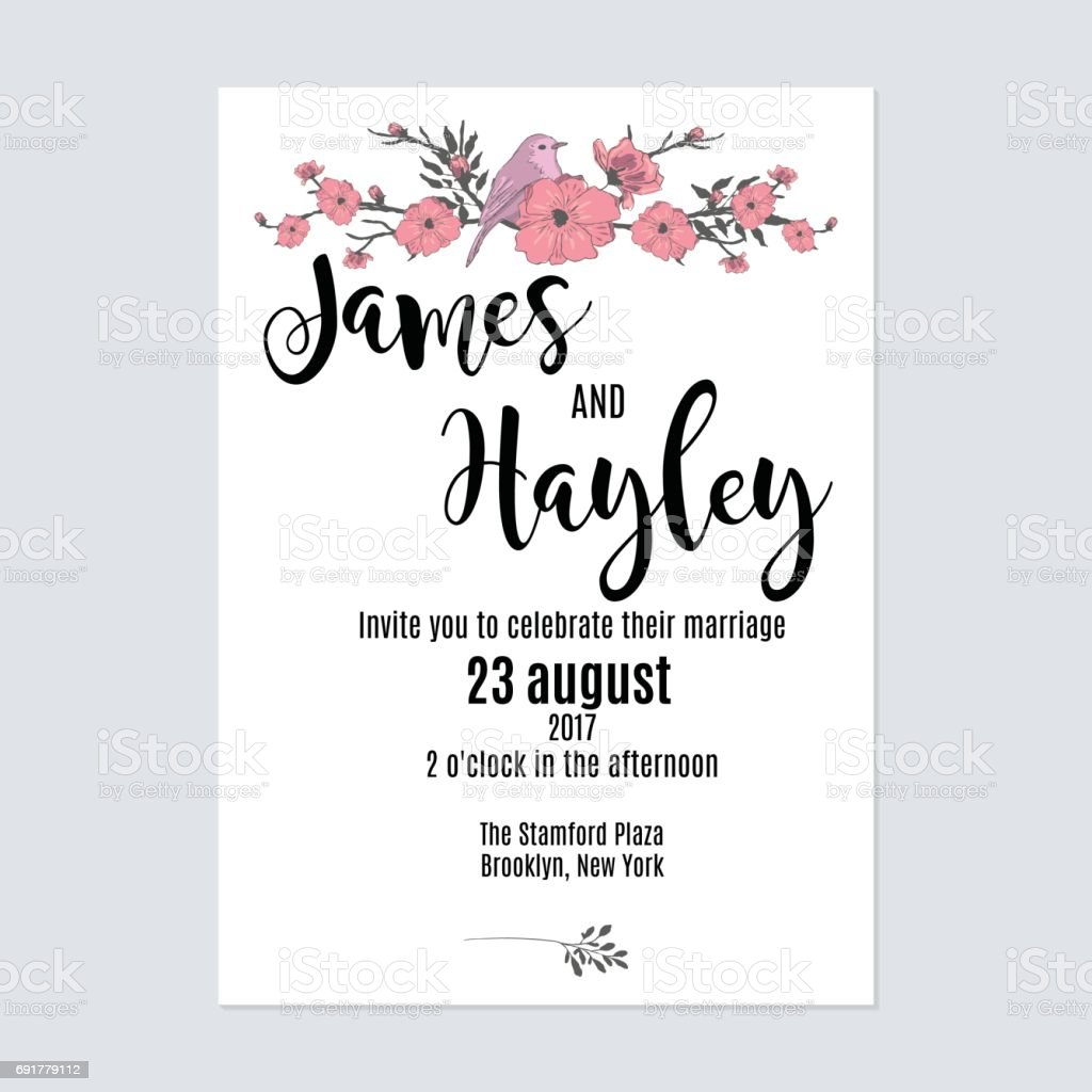 Cute minimalist with flowers and a bird floral wedding invitation cute minimalist with flowers and a bird floral wedding invitation card template vector cute minimalist with stopboris Image collections