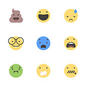 Vector illustration of a set of cute minimalistic emoticons