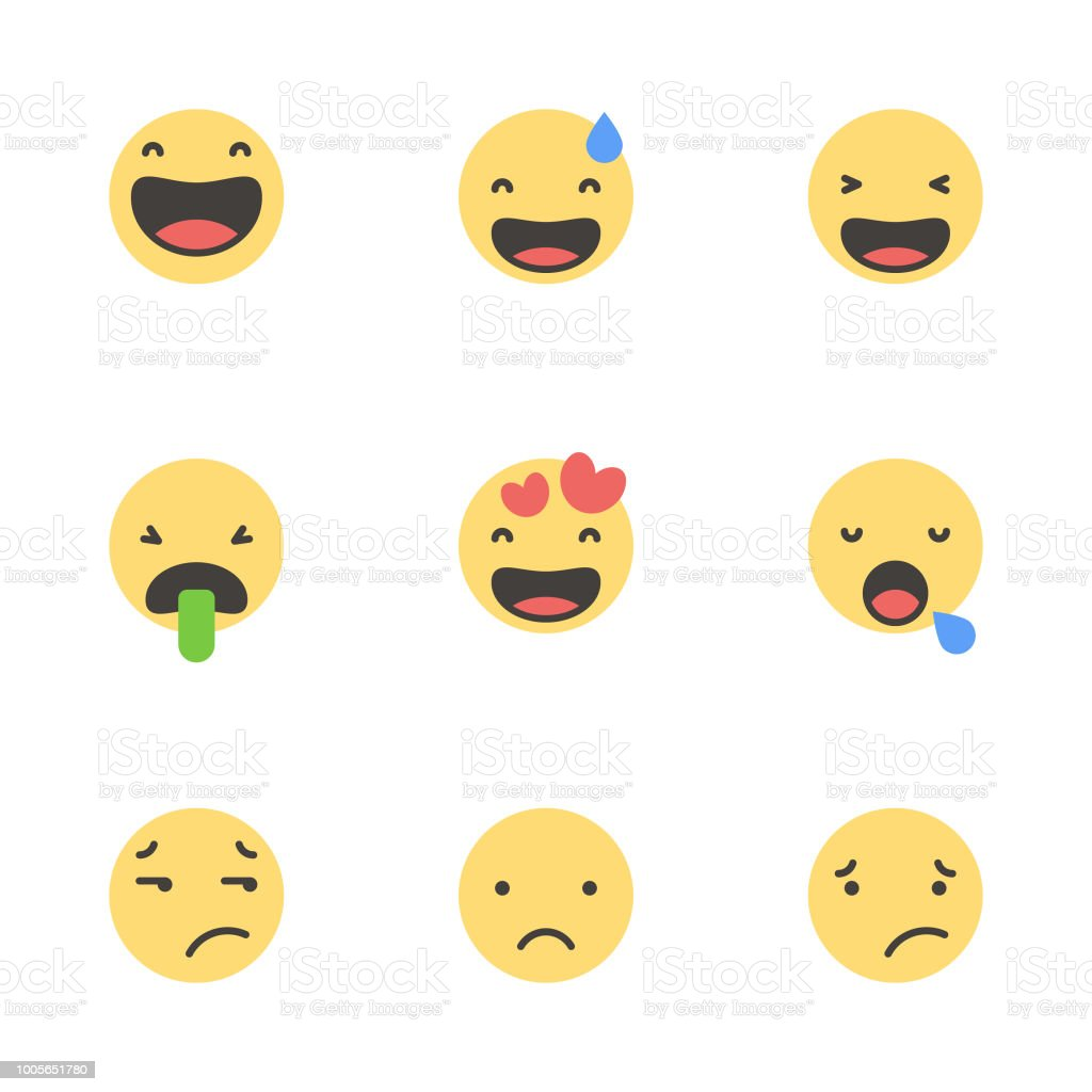 Cute minimalistic emoticons vector art illustration
