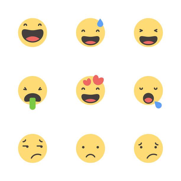 Lindos emoticones minimalistas - ilustración de arte vectorial