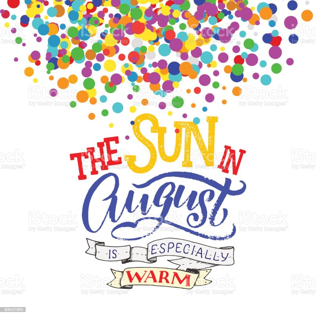 Cute Minimalistic Poster With Phrase About August Hand