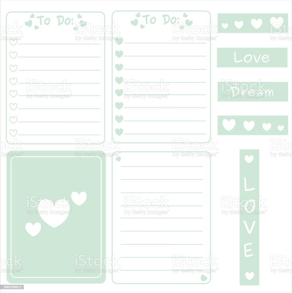 cute mint color vector set of printable template for cards notes