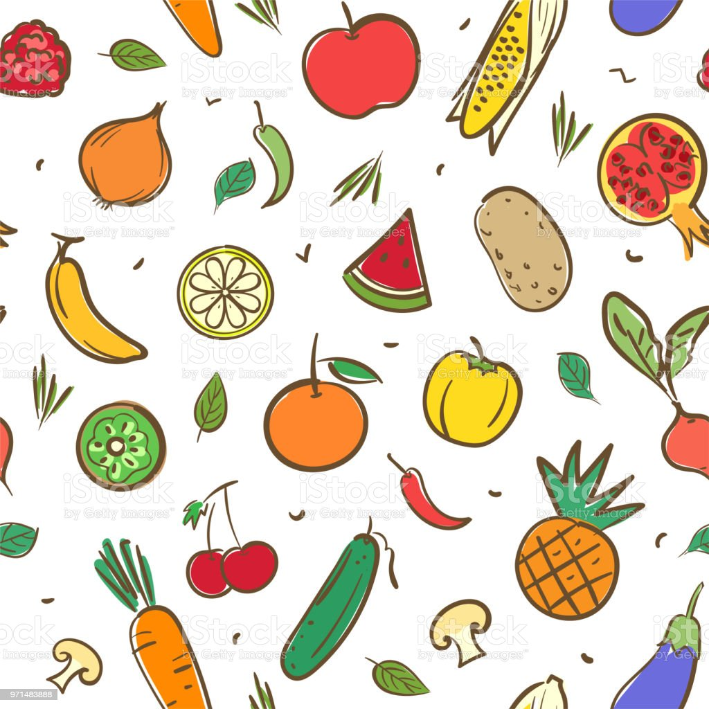 Cute Mix Fruits And Vegetables Seamless Pattern Background
