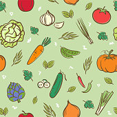 Cute mix vegetables seamless pattern background vector format in hand drawing cartoon style