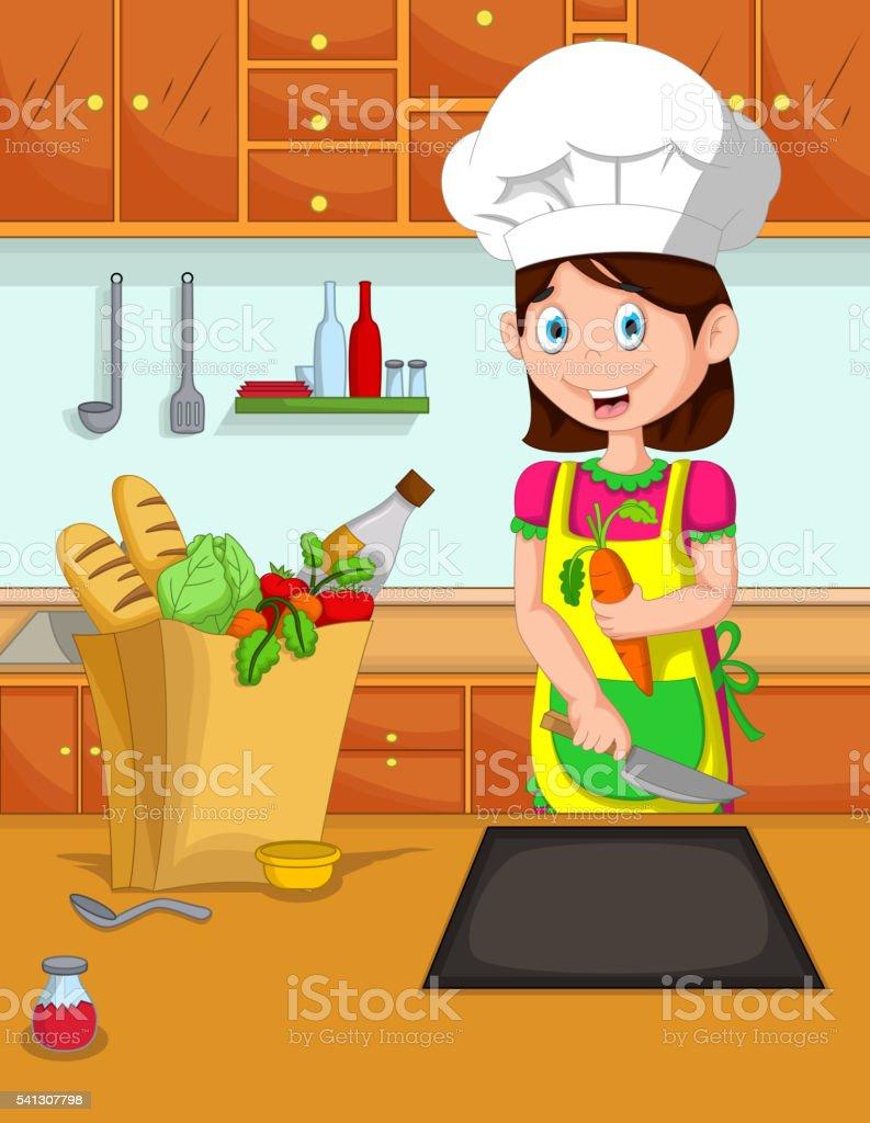 Cartoon Niedlich Mutter Kochen In Der Küche Stock Vektor Art und ...