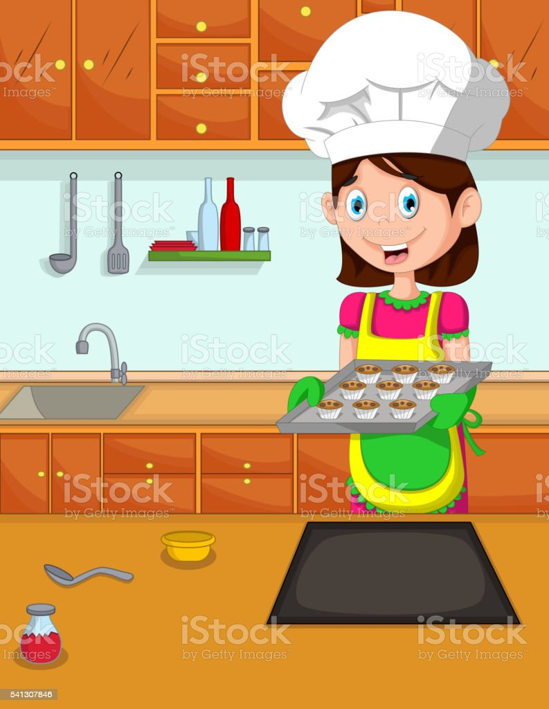 Cute Mom Cartoon Cook In The Kitchen Royalty Free