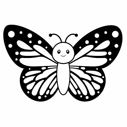 Cute Monarch Butterfly Coloring Page Vector Illustration on White