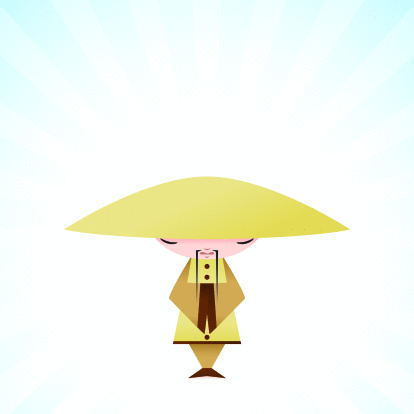 Cute Monk Character With Meditative Expression